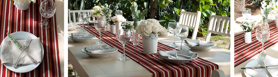 Guatemalan runner, Off white Manta Napkins, White decorative pales as centerpieces