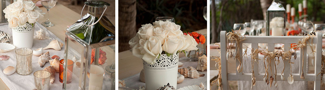 White roses, mini orange roses, seashells tied with raffia chair garlands